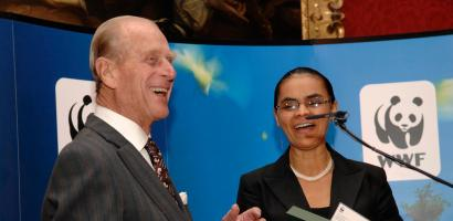 HRH Prince Philip the Duke of Edinburgh presenting the 'WWF Duke of Edinburgh Conservation Medal' to Senator Marina Silva, a former Brazilian Environment Minister, at the Duke of Edinburgh Conservation Awards, held in Saint James's Palace, London, United Kingdom. Senator Silva received the gold medal in recognition of the role she played in creating the Amazon Regional Protected Areas programme, and was praised for her environmental work by WWF International Director General Jim Leape.