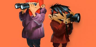 Go Wild! characters stand back to back with binoculars against a red background.