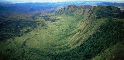 Aerial view of the eastern wall of the Great Rift Valley, Kenya